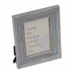 "Distressed Blue Frame 4"" x 6"" Home Is Where Your Heart Is"