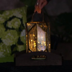 Barbara King Glass Lantern With Micro Lights - Brown Box Mail Order